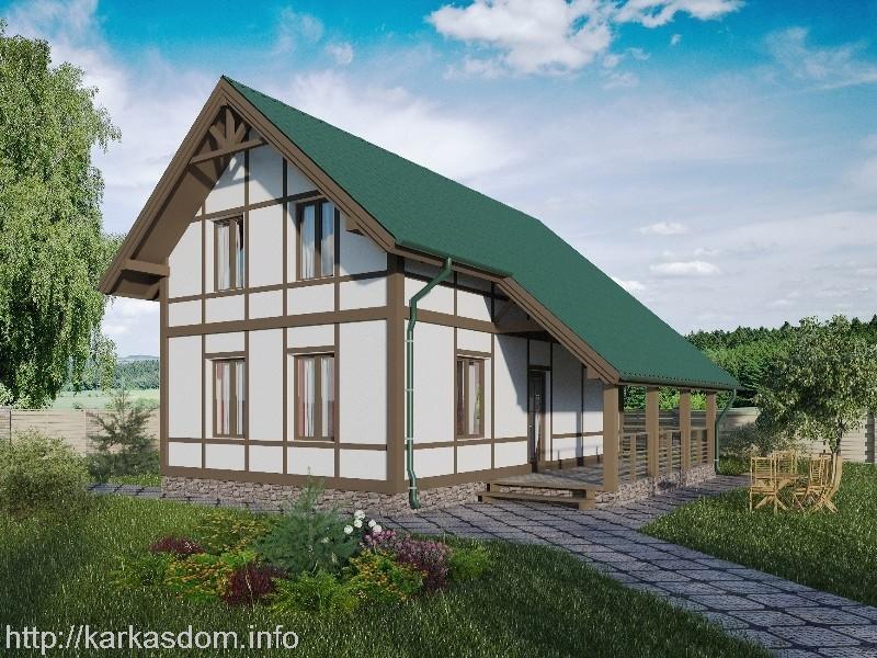 Проект двухэтажного каркасного дома шале