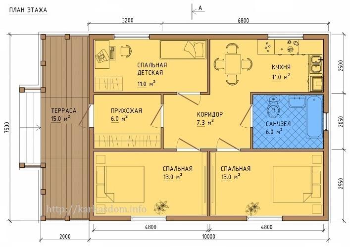 Одноэтажный тёплый дом 75 м2