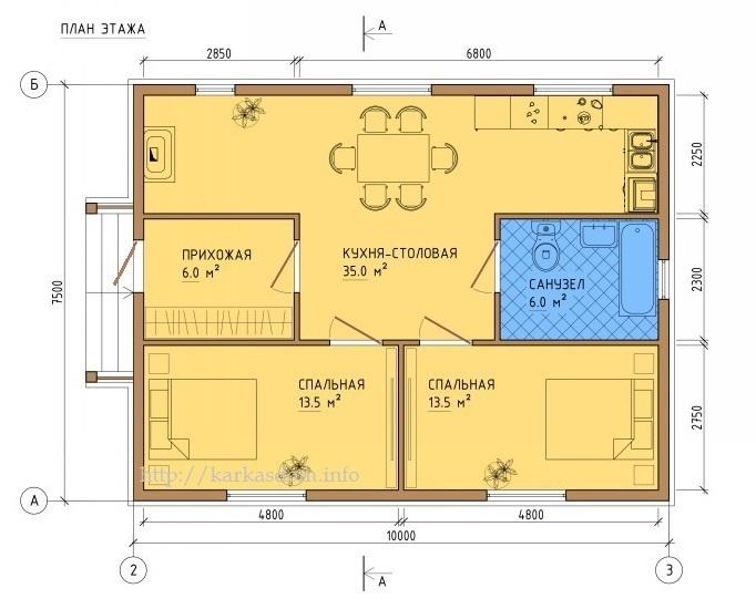 Каркасный дом 7,5 х 10,5м 78м2